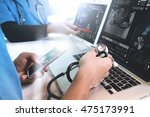 medical technology network team ... | Shutterstock . vector #475173991