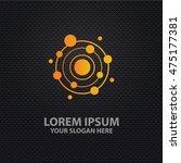 atom design on dark background... | Shutterstock .eps vector #475177381
