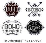 boho elements. ethno labels or... | Shutterstock .eps vector #475177924