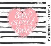 pink hand drawn heart with... | Shutterstock .eps vector #475180495