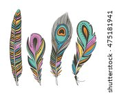 set of colorful bird feathers... | Shutterstock .eps vector #475181941