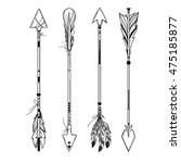 set of boho style arrows with... | Shutterstock .eps vector #475185877