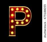 p isolated golden letter with... | Shutterstock . vector #475188055
