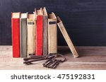 stack of old vintage books and... | Shutterstock . vector #475192831