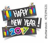 happy new year 2017 celebration ... | Shutterstock .eps vector #475194121
