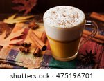 pumpkin spiced latte or coffee... | Shutterstock . vector #475196701