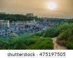 avenue in modern city sunset on ... | Shutterstock . vector #475197505