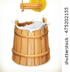 wooden bucket. milk. rustic... | Shutterstock .eps vector #475202155