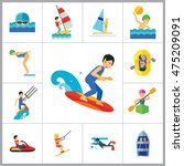 water sport icon set | Shutterstock .eps vector #475209091