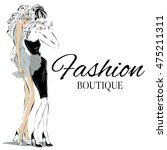 fashion boutique background... | Shutterstock .eps vector #475211311