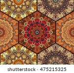 honey comb hex seamless pattern ... | Shutterstock .eps vector #475215325