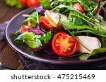 fresh salad with chicken ... | Shutterstock . vector #475215469