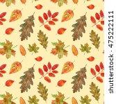 watercolor autumn leaf fall.... | Shutterstock . vector #475222111