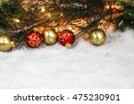 christmas background with red... | Shutterstock . vector #475230901
