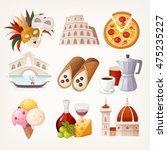 set of italian travel icons.... | Shutterstock .eps vector #475235227