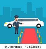 white limousine driver red... | Shutterstock .eps vector #475235869