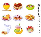 different breakfast dishes... | Shutterstock .eps vector #475237339