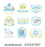 world peace day set of label... | Shutterstock .eps vector #475237597
