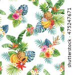 seamless pattern with tropical... | Shutterstock .eps vector #475247671