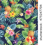 seamless tropical pattern with... | Shutterstock .eps vector #475247704