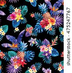 seamless tropical pattern with... | Shutterstock .eps vector #475247767