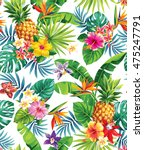 seamless tropical pattern with... | Shutterstock .eps vector #475247791