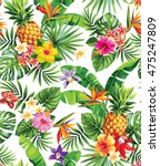 seamless tropical pattern with... | Shutterstock .eps vector #475247809