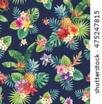 seamless tropical pattern with... | Shutterstock .eps vector #475247815