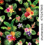 seamless tropical pattern with... | Shutterstock .eps vector #475247845