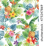 seamless tropical pattern with... | Shutterstock .eps vector #475247869