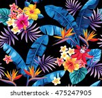 seamless pattern with palm... | Shutterstock .eps vector #475247905