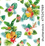 seamless pattern with tropical...   Shutterstock .eps vector #475247989