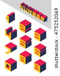 collection of isometric numbers.... | Shutterstock .eps vector #475252069