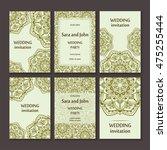 vintage invitation cards set... | Shutterstock .eps vector #475255444