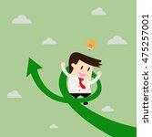 businessman on growth arrow....   Shutterstock .eps vector #475257001