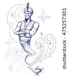 cartoon genie. sketch vector... | Shutterstock .eps vector #475257301