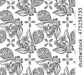doodle seamless pattern. floral ... | Shutterstock .eps vector #475258735