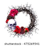 Wreath With Skull  Red Roses...