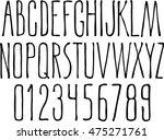 hand drawn narrow alphabet.... | Shutterstock .eps vector #475271761