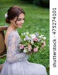 girl in elegant dress with... | Shutterstock . vector #475274101