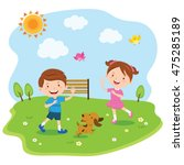 happy kids playing under the... | Shutterstock .eps vector #475285189