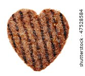 slice of grilled meat in shape of a heart - stock photo