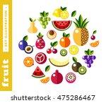 set illustrations of fresh fruit | Shutterstock .eps vector #475286467