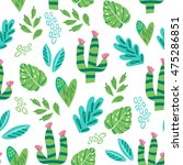 cacti pattern in trendy style. | Shutterstock .eps vector #475286851