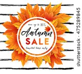 autumn sale flyer template with ... | Shutterstock .eps vector #475289845