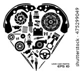 set of auto spare parts. heart... | Shutterstock .eps vector #475299049