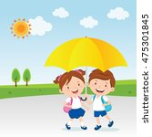 children under the umbrella ... | Shutterstock .eps vector #475301845