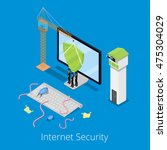 isometric internet security and ... | Shutterstock .eps vector #475304029