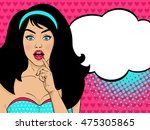 wow pop art female face. sexy... | Shutterstock .eps vector #475305865