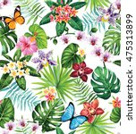 seamless pattern with palm... | Shutterstock .eps vector #475313899